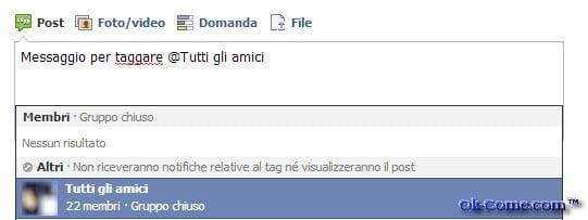 taggare tutti gli amici di Facebook