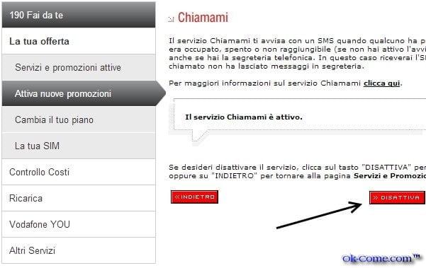 Come Disattivare Chiamami di Vodafone