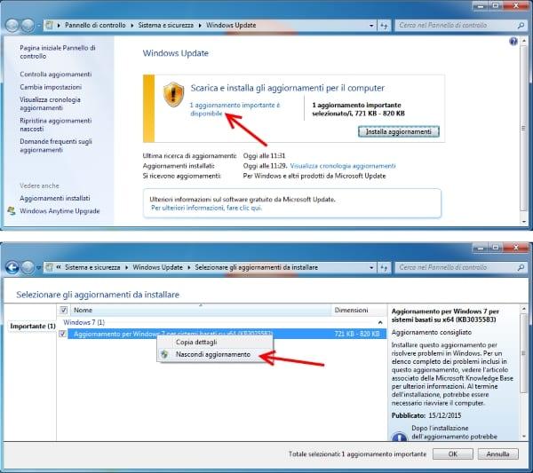 bloccare aggiornamento KB3035583 per eliminare notifica windows 10