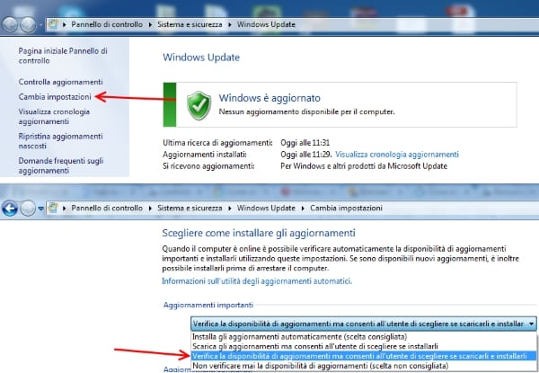 modificare opzione aggiornamenti windows update per eliminare notifica windows 10
