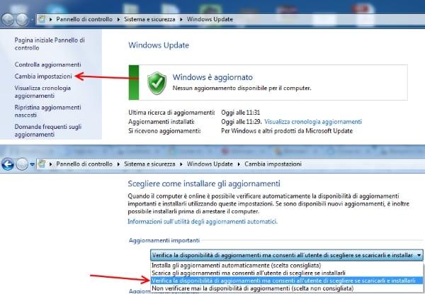 modificare opzione aggiornamenti windows update per eliminare notifica windows 10