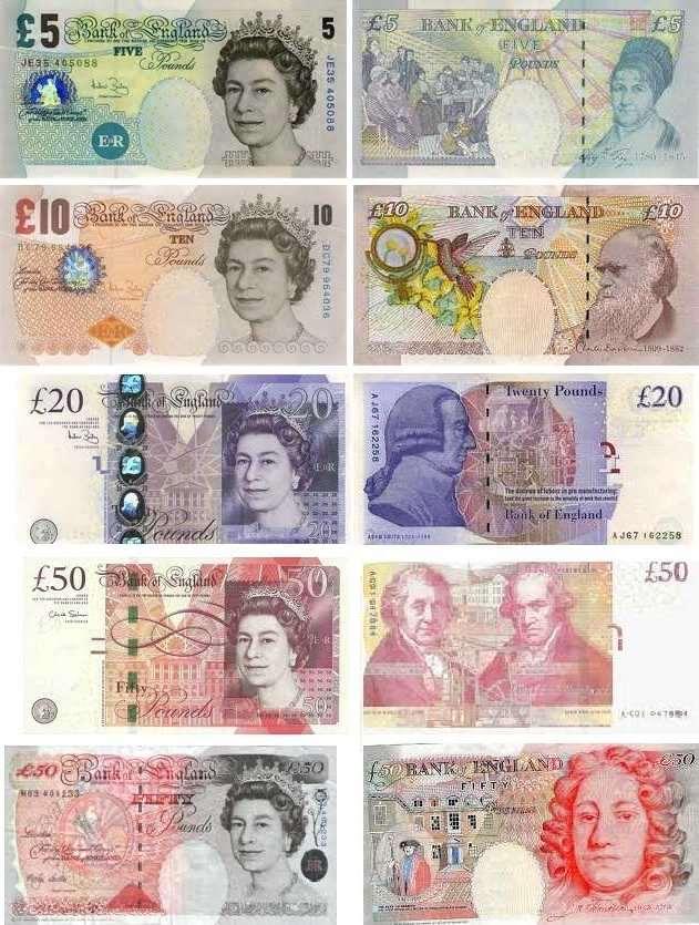banconote sterline attualmente in uso