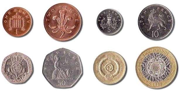 monete sterline attualmente in uso